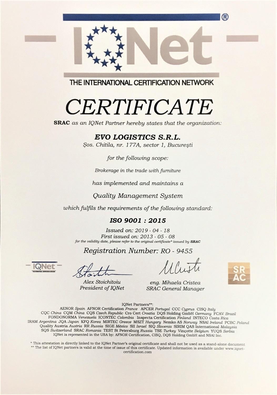 Certificat calitate IQNet